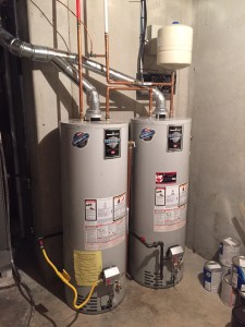 large Thermal expansion tank installed for multiple water heaters