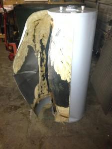 water heater split open from leak