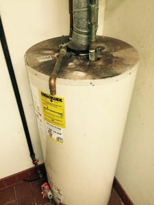 Backdraft on top of water heater