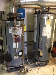 These two commercial water heaters powered