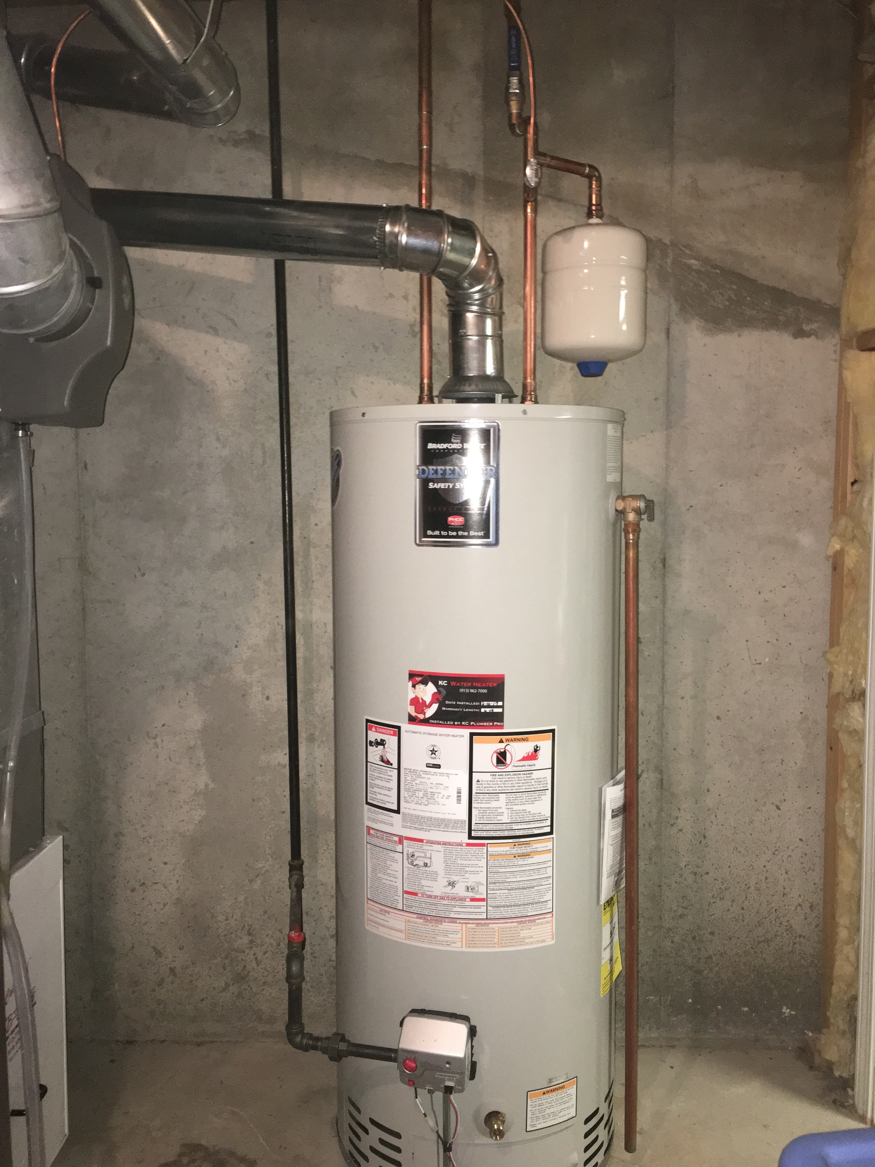 water heater installed by licensed plumber