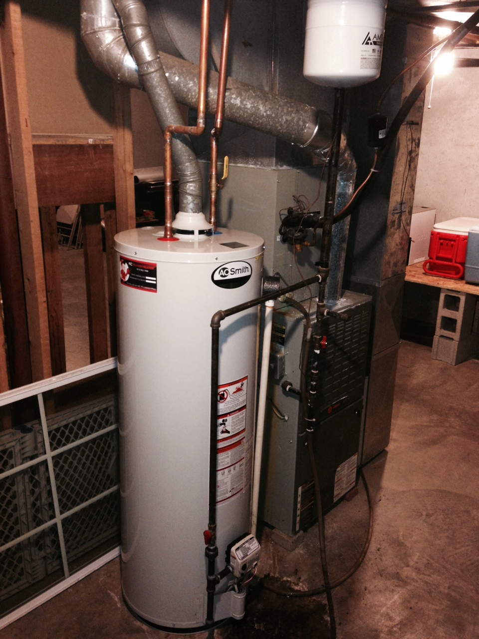 thermal expansion tank installed on water heater