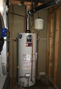 Water heater with thermal expansion tank and recirculating line