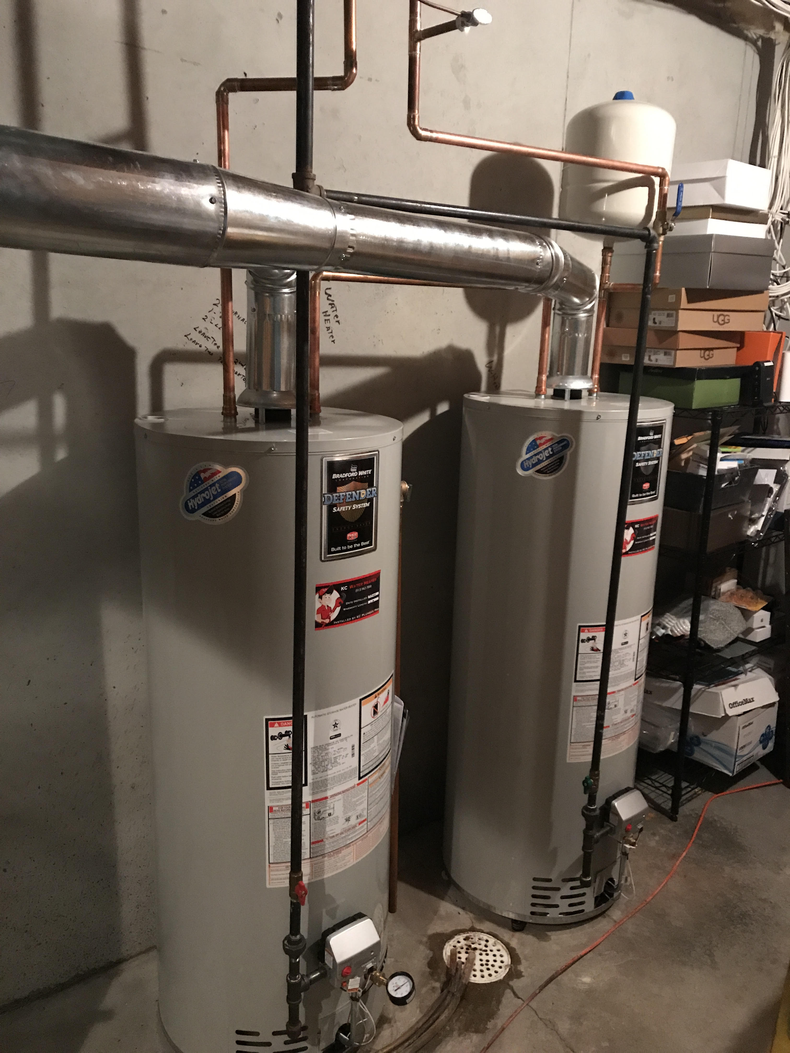 Hook up two water heaters